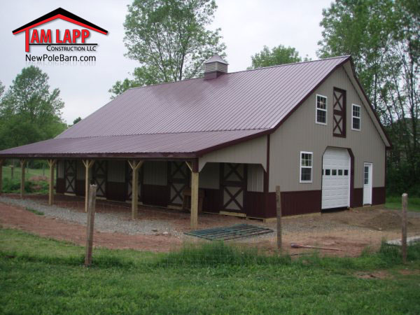 Horse barn polebarn building gilbertsville tam lapp for Pole barn home plans with garage