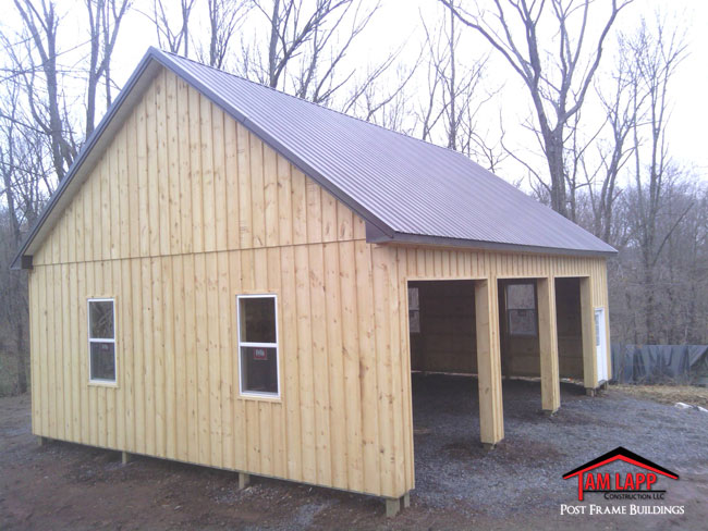 Residential polebarn building quakertown tam lapp for Log pole barn