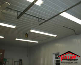 Pole barn Interior Liner Panel Finish on Ceiling