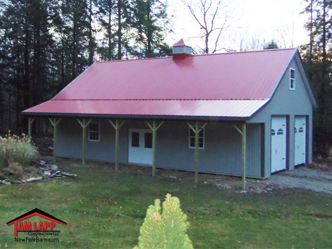 Pole barn porch options tam lapp construction llc for Garage column wrap