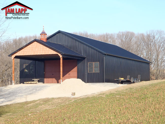 Pole barn porch options tam lapp construction llc for Pole barn with porch