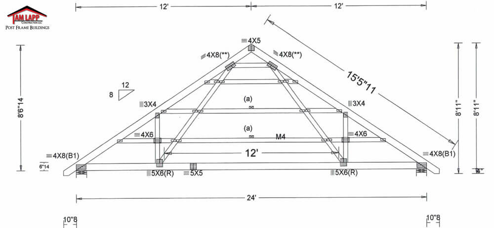 Pole barn roof truss designs tam lapp construction llc for Price on roof trusses