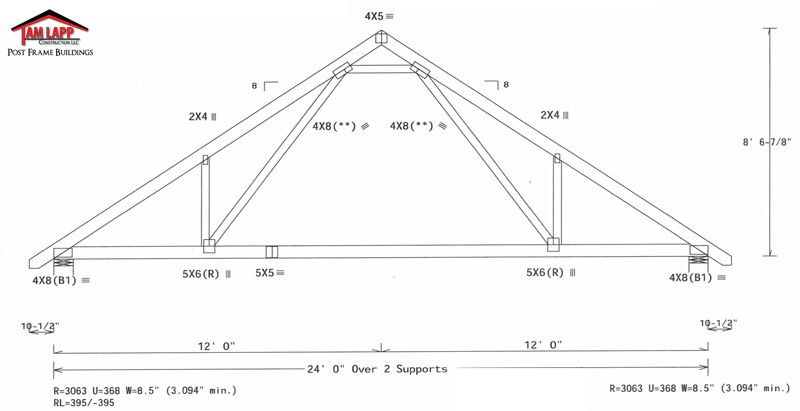 Pole barn roof truss designs tam lapp construction llc for Prefab gambrel roof trusses